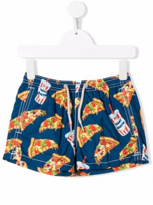 Плавки-шорты с принтом Pizza Mc2 Saint Barth Kids. Цвет: синий