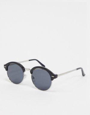 Черные круглые солнцезащитные очки в стиле ретро -Черный New Look