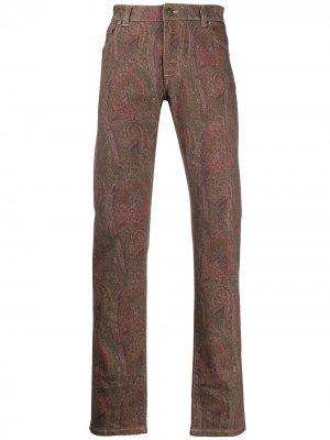 Прямые джинсы с принтом пейсли Etro. Цвет: коричневый