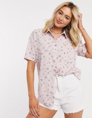 Рубашка в стиле oversized с цветочным принтом -Розовый Daisy Street