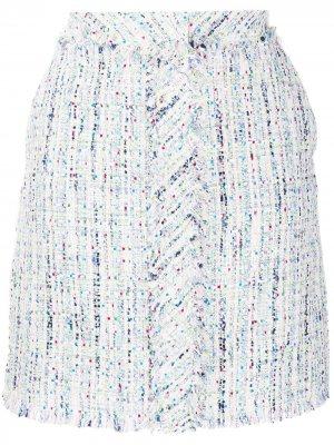 Юбка миди из ткани букле Karl Lagerfeld. Цвет: розовый
