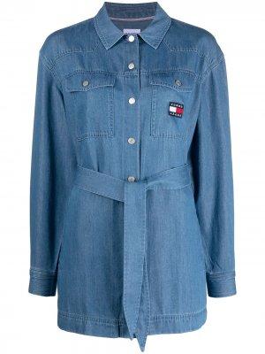 Джинсовая рубашка с завязками Tommy Jeans. Цвет: синий