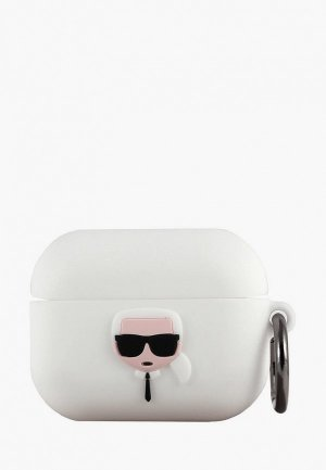 Чехол для наушников Karl Lagerfeld Airpods Pro, Silicone case with ring White. Цвет: белый