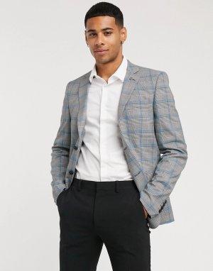 Приталенный пиджак в клетку принц Уэльский Avail London-Серый London