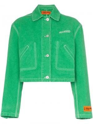 Укороченная джинсовая куртка с вышивкой Heron Preston. Цвет: зеленый