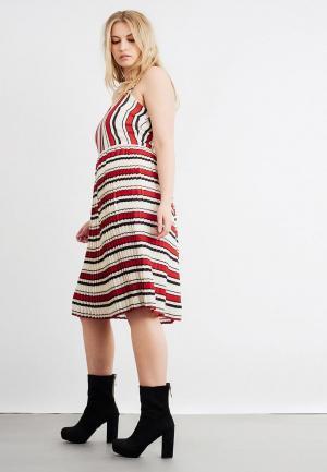 Платье LOST INK PLUS PLEATED HEM DRESS IN STRIPE. Цвет: разноцветный