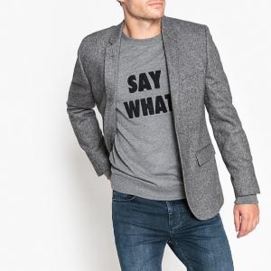 Пиджак костюмный узкого покроя из смесовой шерстяной ткани La Redoute Collections. Цвет: серый