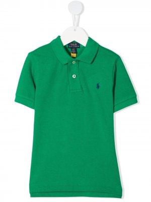 Рубашка поло с вышитым логотипом Ralph Lauren Kids. Цвет: зеленый