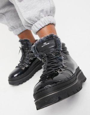 Черные лакированные ботильоны со шнуровкой на плоской подошве Jammers-Черный Skechers