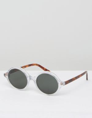 Круглые солнцезащитные очки в прозрачной оправе Han Kjobenhavn. Цвет: очистить