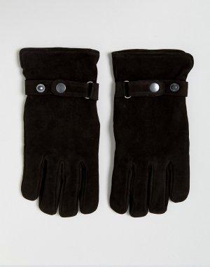 Черные замшевые перчатки French Connection. Цвет: черный