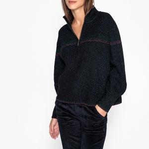 Пуловер с воротником-стойкой из тонкого трикотажа DAZED BA&SH. Цвет: черный