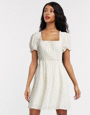 Белое платье с цветочным принтом -Белый Billabong