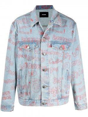 Джинсовая куртка с логотипом We11done. Цвет: синий