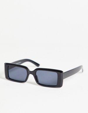 Черные узкие квадратные солнцезащитные очки -Черный цвет New Look