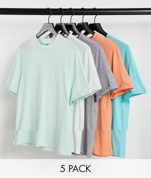 Комплект из 5 футболок органического хлопка с отворотами на рукавах -Разноцветный ASOS DESIGN