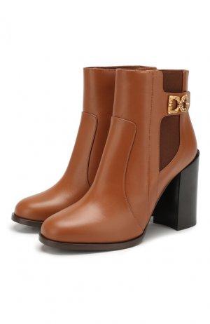 Кожаные ботильоны Janis Dolce & Gabbana. Цвет: коричневый