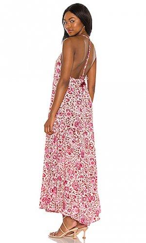 Макси платье felicia Poupette St Barth. Цвет: красный