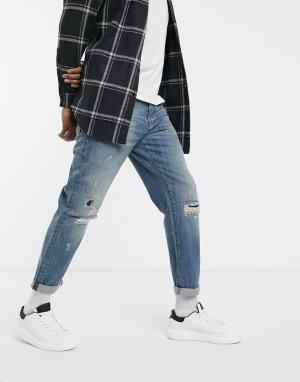 Выбеленные джинсы свободного кроя с рваной отделкой Alum-Голубой G-Star