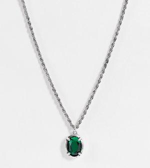 Серебристое ожерелье с подвеской зеленой вставкой Inspired-Серебристый Reclaimed Vintage