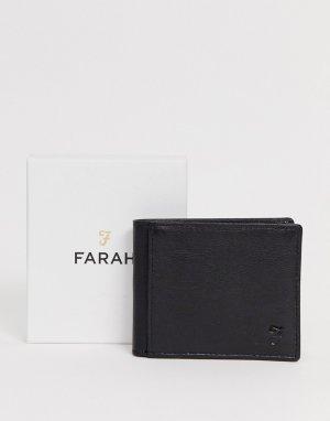 Черный кожаный бумажник Farah