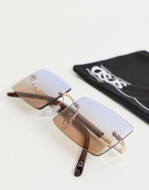 Золотистые солнцезащитные очки в стиле ретро без оправы с градиентными линзами -Золотистый ASOS DESIGN