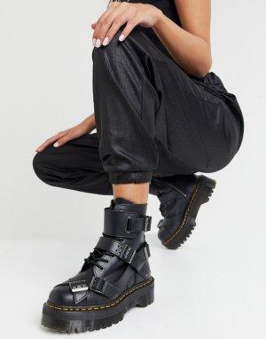 Черные ботинки на массивной платформе и с ремешками пряжке Jadon-Черный Dr Martens