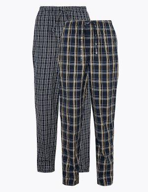 Комплект пижамных брюк в клетку (2 шт) M&S Collection. Цвет: морской микс