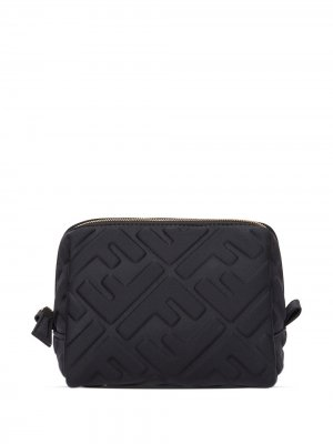 Стеганая косметичка с логотипом FF Fendi. Цвет: черный