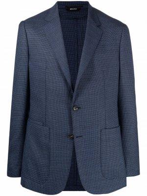 Однобортный пиджак в клетку Z Zegna. Цвет: синий