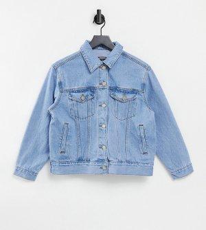 Синяя выбеленная oversized джинсовая куртка -Голубой Missguided Petite