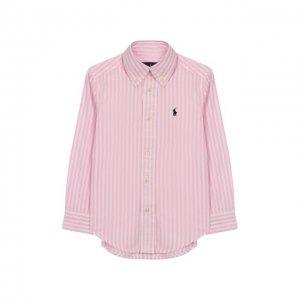 Хлопковая рубашка Ralph Lauren. Цвет: розовый