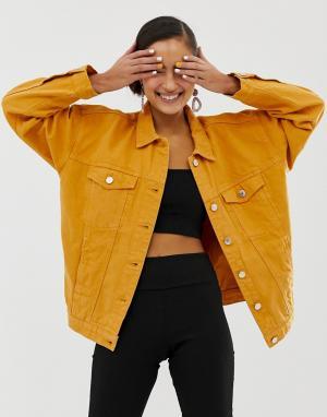 Джинсовая oversize-куртка из органического хлопка горчичного цвета Monki. Цвет: желтый