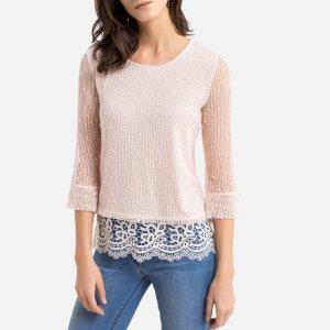 Пуловер-туника La Redoute. Цвет: розовый