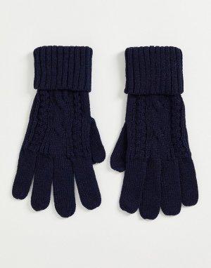 Вязаные косами перчатки темно-синего цвета -Темно-синий Boardmans