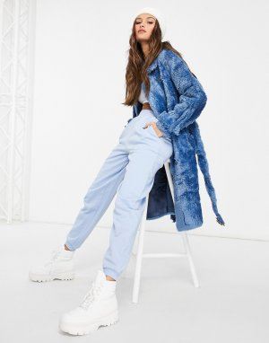 Синее двубортное пальто из искусственного меха с поясом -Синий Jayley