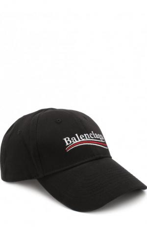 Хлопковая бейсболка с логотипом бренда Balenciaga. Цвет: черный