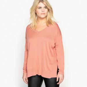 Пуловер из тонкого трикотажа с V-образным вырезом CASTALUNA. Цвет: красный карминный