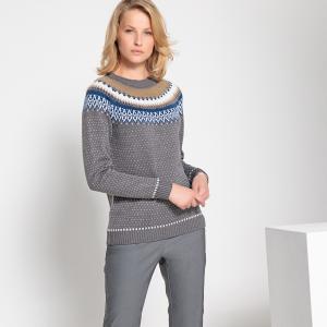 Пуловер жаккардовый крупной вязки с круглым вырезом ANNE WEYBURN. Цвет: жакард