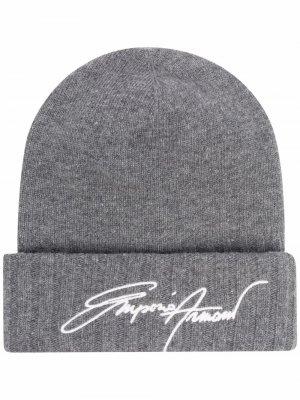 Rib-knit embroidered beanie hat Emporio Armani. Цвет: серый
