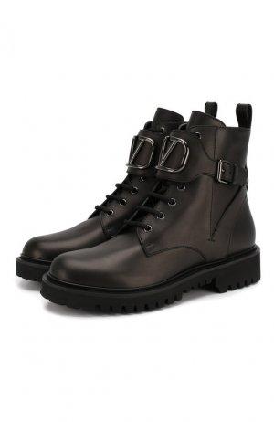 Кожаные ботинки Garavani Go Logo Valentino. Цвет: черный
