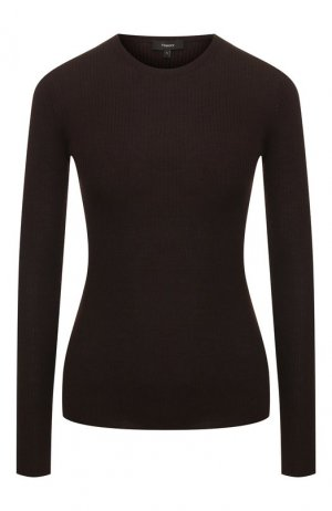 Шерстяной пуловер Theory. Цвет: коричневый