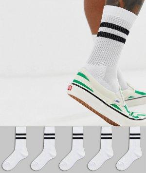 Набор из 5 пар белых спортивных носков с черными полосками ASOS DESIGN