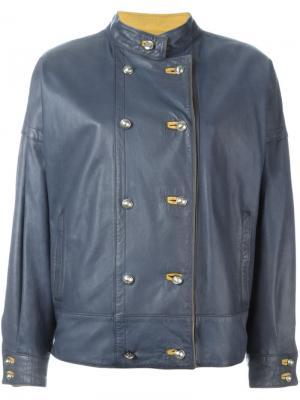 Двубортная кожаная куртка Versace Vintage. Цвет: синий