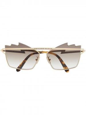 Солнцезащитные очки с логотипом Philipp Plein. Цвет: золотистый