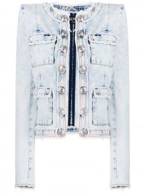 Выбеленная джинсовая куртка прямого кроя Balmain