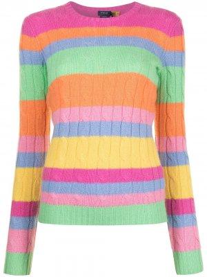 Кашемировый джемпер фактурной вязки в полоску Polo Ralph Lauren. Цвет: разноцветный
