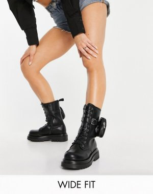 Черные ботинки для широкой стопы средней высоты на массивной подошве со шнуровкой и съемным кошельком -Синий Truffle Collection
