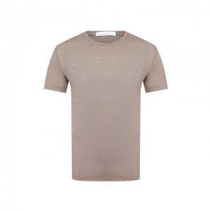 Льняная футболка Cruciani. Цвет: бежевый