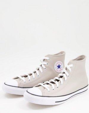 Светло-бежевые высокие кожаные кеды Chuck Taylor All Star-Светло-бежевый цвет Converse